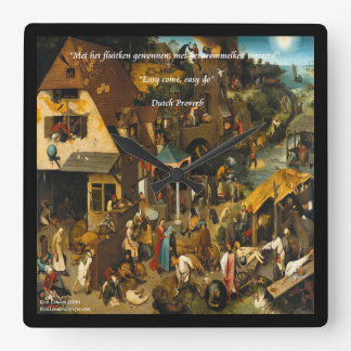 16th Century Dutch Art & Proverb Wall Clock