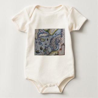 16th Century Map of Scandinavia Baby Bodysuit