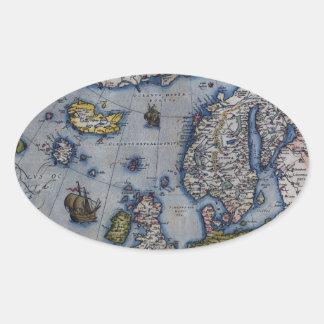 16th Century Map of Scandinavia Oval Sticker
