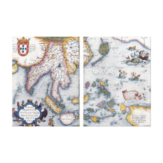 16th Century Map of South East Asia and Indonesia Canvas Print