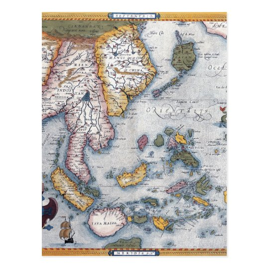 16th Century Map of South East Asia and Indonesia Postcard