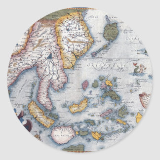 16th Century Map of South East Asia and Indonesia Sticker