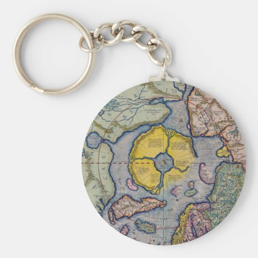 16th Century Mercator North Pole Map Basic Round Button Keychain