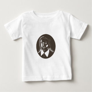 16th Century Poet Oval Woodcut Baby T-Shirt