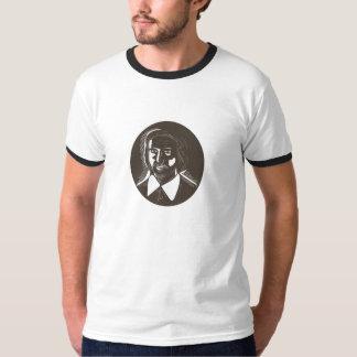 16th Century Poet Oval Woodcut T-Shirt
