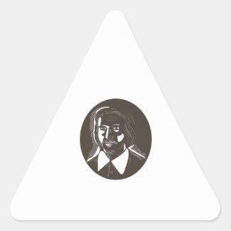 16th Century Poet Oval Woodcut Triangle Sticker