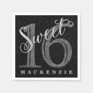 16th Charcoal Gray | Sweet 16 Silver Glitter | Paper Napkin
