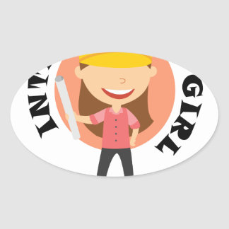 16th February Introduce A Girl To Engineering Day Oval Sticker