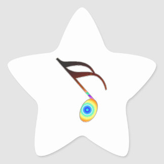 16th Music Note Star Sticker