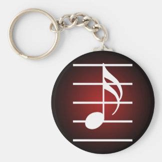 16th note 2 basic round button keychain