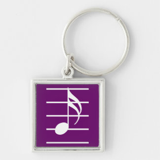 16th note 2 Silver-Colored square keychain