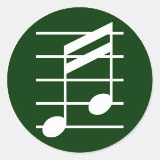 16th note 4 classic round sticker