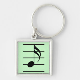 16th note Silver-Colored square keychain
