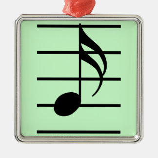 16th note square metal christmas ornament