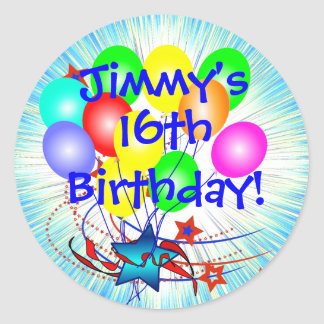 16th Or Any Age & Name Fun Birthday Stickers