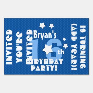 16th or Any Birthday Stars Custom K16Z Blue Yard Sign