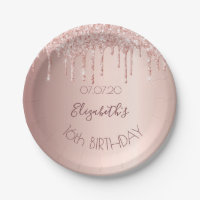 16th sixteen birthday party rose gold glitter 16 paper plate