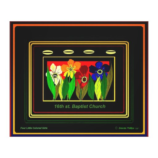 16th ST BAPTIST CHURCH (Four Little Colored Girls) Canvas Print
