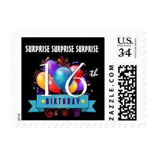16th SURPRISE Birthday Balloons Black White B16Z Postage