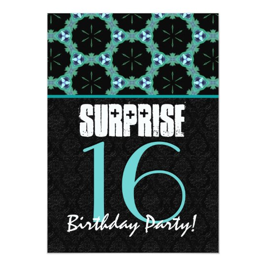 16th Surprise Birthday Party Teal and Black Modern Card