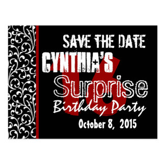 16th Surprise Save the Date Modern Black White Red Postcard