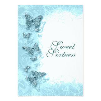 "16th ""sweet sixteen"" birthday party aqua card"