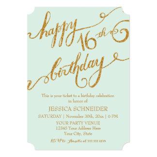 16th Sweet Sixteen Sixteenth Birthday Party Ticket 5x7 Paper Invitation Card