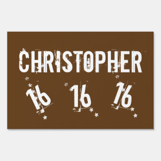 16th Teen Birthday Trendy Grunge Letters Stars A09 Sign