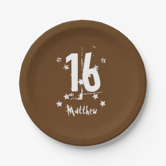 16th Teen Birthday Trendy Grunge Letters Stars A15 7 Inch Paper Plate