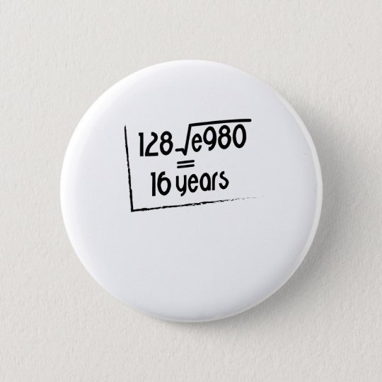 16th Wedding Anniversary Traditional Gift: 16th Wedding Anniversary Or 16th Birthday Gift Pinback