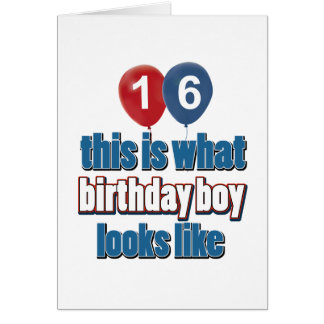 16th year birthday designs greeting cards