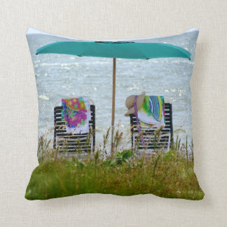 16x16 beach scene throw pillow. throw pillow