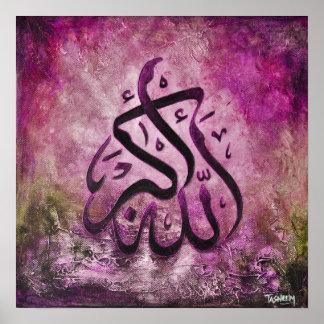 ¡16x16 GRANDE ALLAH-U-AKBAR - arte islámico origin Póster