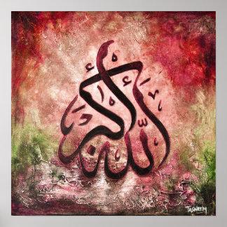 ¡16x16 GRANDE ALLAH-U-AKBAR - arte islámico origin Poster