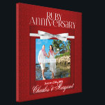 "16x16 Ruby 60th Anniversary Photo Custom Canvas Print<br><div class=""desc"">Forty years of marriage is a wonderful milestone and the couple should have a reminder to inspire them on to their Golden Anniversary. Deep rich ruby red hues in an elegant damask print and light silvery-white ribbon and text features the couple&#39;s photo, name and anniversary date. This is a 16-inch...</div>"