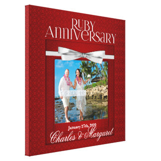 16x16 Ruby 60th Anniversary Photo Custom Canvas Print
