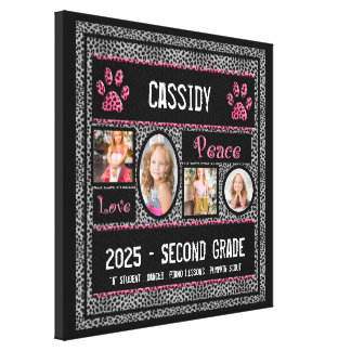 16x16 School Year Photo Collage in Silver Cheetah Canvas Print