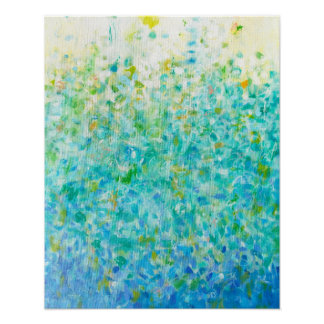 16x20 Abstract Turquoise Blue Light Yellow Print