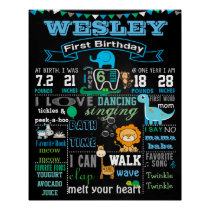 "16x20"" Animals First Birthday chalkboard poster"