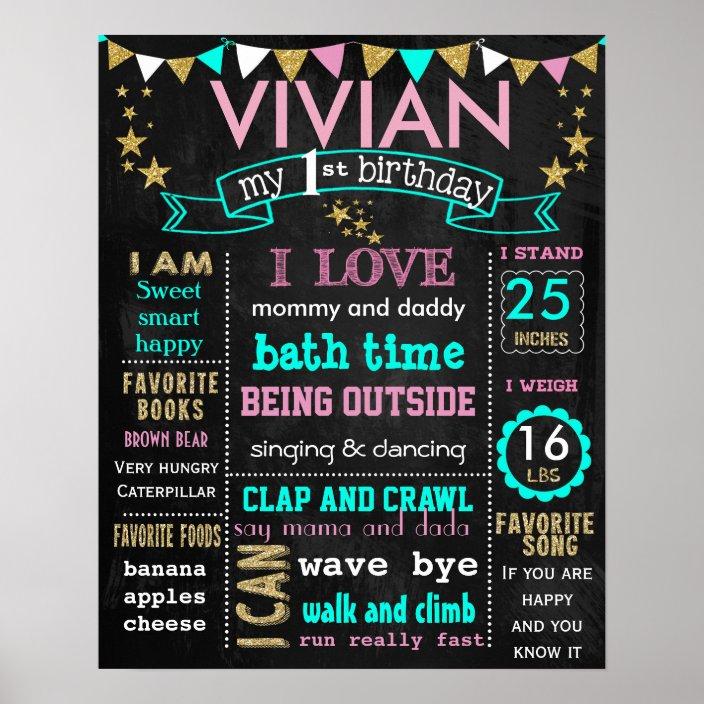 Size 16x20 inches SKU CBI59 First Birthday Chalkboard Sign  Printable Chalkboard Sign Girly Theme Birthday Chalkboard