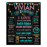 "16x20"" Birthday chalkboard sign personalized Poster"