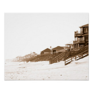 16x20 Canvas Sephia Print Of Florida Beach