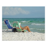 16x20 Canvas Watercolor Painting on The Beach Posters