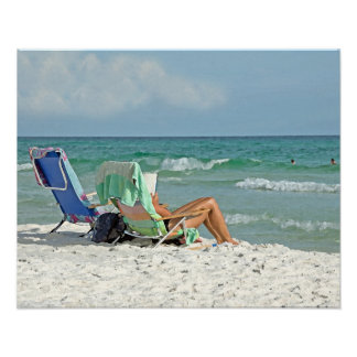 16x20 Canvas Watercolor Painting on The Beach Poster