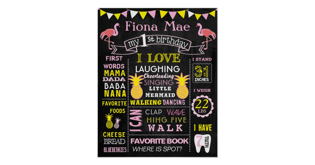 16x20 flamingo pineapples birthday sign board zazzle com