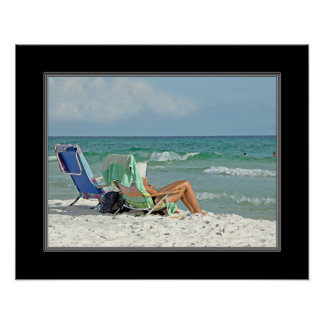 16x20 Painting Print Relaxing On The Beach