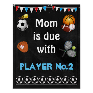 16x20 Pregnancy announcement Sign sports boy Poster