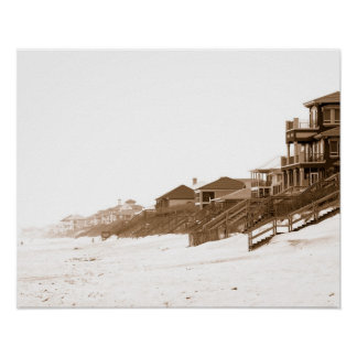 16x20 Sephia Print Of Florida Beach