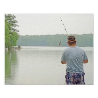 16x20 Watercolor Canvas Painting A Day Of Fishing Print
