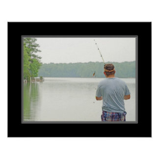 16x20 Watercolor Painting Print A Day Of Fishing